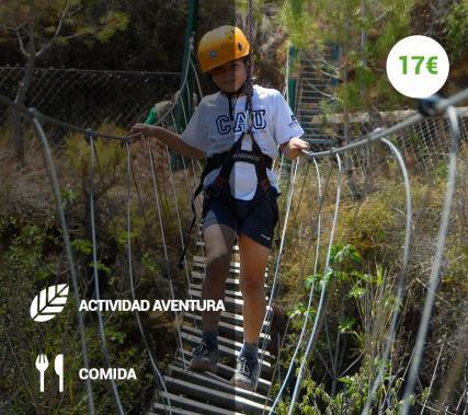 Tirolina Familiar + Puente Tibetano + Comida